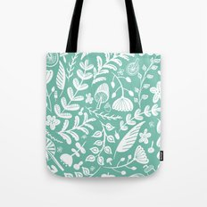 Forest Flora Green Tote Bag