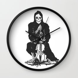 Violinist skull - grim reaper - cartoon skeleton - halloween illustration Wall Clock
