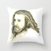 thorin Throw Pillows featuring Thorin Oakenshield by Zalazny