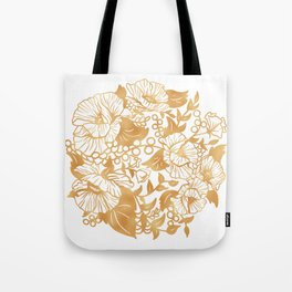 Gold Floral Poppy Circle Tote Bag