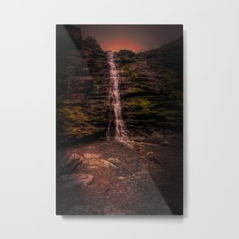 Tintagel beach waterfall Metal Print