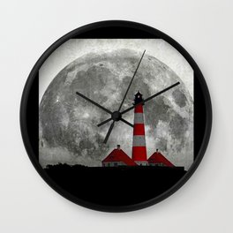 Lighthouse in the shadow of the Moon Wall Clock