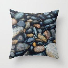 wet river rocks Throw Pillow