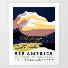 Vintage See America - Montana Travel Art Print