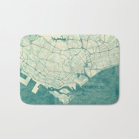 Singapore Map Blue Vintage Bath Mat