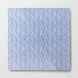 Pale Blue Knit Textured Pattern Metal Print