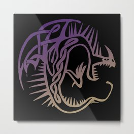 Deadly Nadder Purple and Gold Metal Print