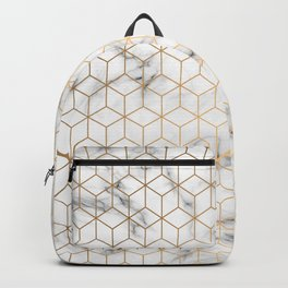 Gold Geometric Pattern on Marble Texture Backpack