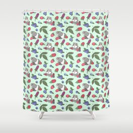 Guinea Pig Pattern in Mint Green Background with mix berries Shower Curtain