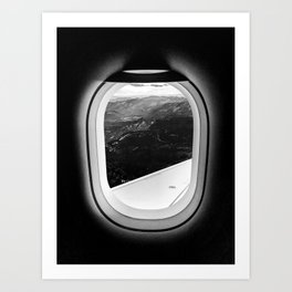 Window Seat // Scenic Mountain View from Airplane Wing // Snowcapped Landscape Photography Art Print