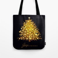 christmas tree Tote Bags featuring Christmas tree by valzart