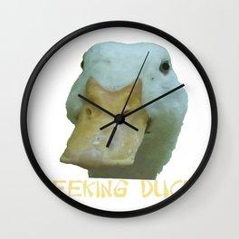 Peeking Duck With Fun Oriental Text Wall Clock