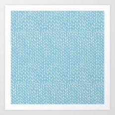 Hand Knit Sky Blue Art Print