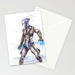 Liara from Mass Effect sumi style with calligraphy Stationery Cards