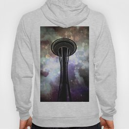Space Needle - Seattle Stars and Clouds at Night Hoody