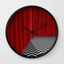 Twin Peaks Black Lodge with Chevron Floor and Red Curtains  Wall Clock