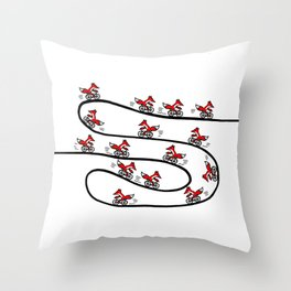 Fox on Bicycle Throw Pillow