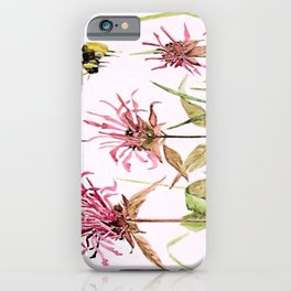 Flowers Bee Balm Pink Garden Wildflowers Nature Art iPhone Case