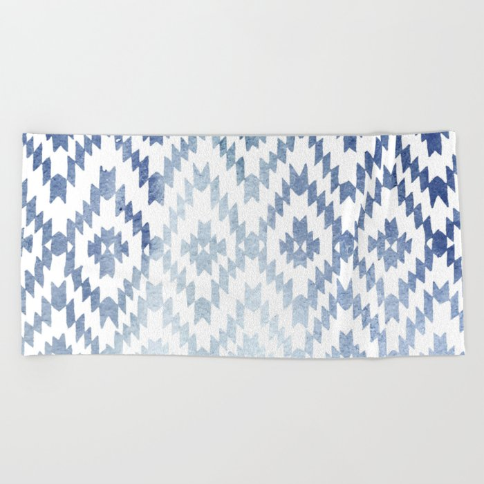 Indigo Ikat Print 3 Beach Towel