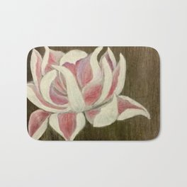 White and Pink Lotus Bath Mat
