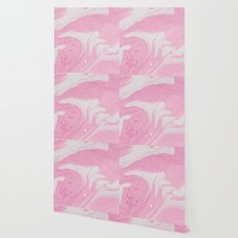 Soft Pink Marble with Cream Swirls Wallpaper
