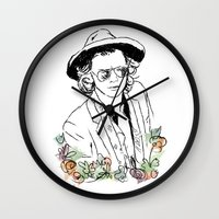harry styles Wall Clocks featuring Harry Styles by Mariam Tronchoni