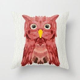 Whimsical Strawberry Owl Throw Pillow