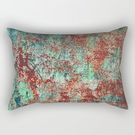 Abstract Rust on Turquoise Painting Rectangular Pillow