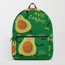 Avocardio Avo Cardio Funny Fitness Avocado Pun Pattern (green) Backpack