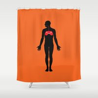 anatomy Shower Curtains featuring Anatomy game by Tony Vazquez