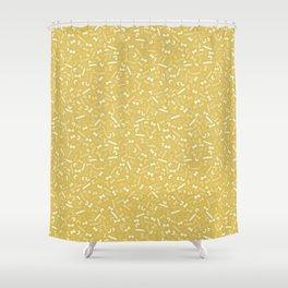 Vintage Kitchen Pasta Tossed Pattern / Yellow Shower Curtain