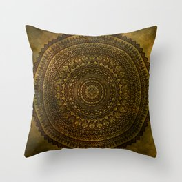 Lime Brown Mandala Boho Gypsy Throw Pillow