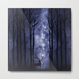 Deer in mid-night winter woods Metal Print