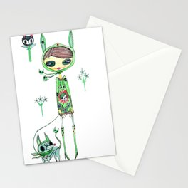 punk gree Stationery Cards