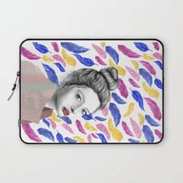 Girl with Feather Pattern / Pencil drawing + Watercolor Laptop Sleeve