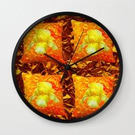 FOUR YELLOW IRIS ON GOLDEN PILLOWS Wall Clock