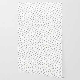 Simply Dots in Retro Gray on White Wallpaper