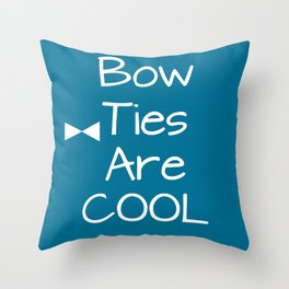 DOCTOR WHO Bow Ties Are Cool Teal Throw Pillow