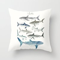 sharks Throw Pillows featuring Sharks by Amy Hamilton