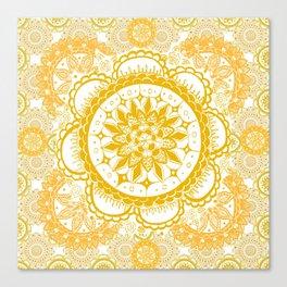 Orange Kaleidoscope Patterned Mandala Canvas Print