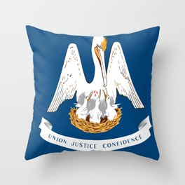 Flag of Louisiana -Louisianian,south, jazz,blues,french, new orleans, baton rouge,usa,america,us Throw Pillow