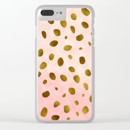 Blush Pink With Gold Foil Animal Print Pattern Clear iPhone Case