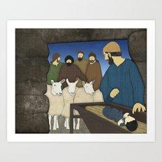 Nativity: Shepherds visit baby Jesus in the Bethlehem manger Luke 2:8-20 Art Print