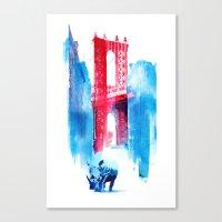 bridge Canvas Prints featuring Manhattan bridge by Robert Farkas