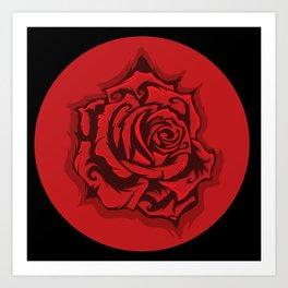 Red Rose Round Art Print