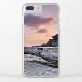 Half Moon Beach. Red sky Clear iPhone Case