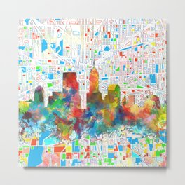 indianapolis city skyline watercolor 6 Metal Print