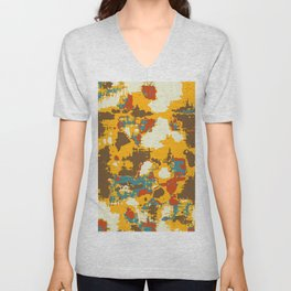 psychedelic geometric painting texture abstract in yellow brown red blue Unisex V-Neck