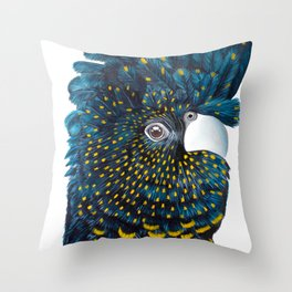 Black Cockatoo Parrot. Australian Native. Carnaby Red Tailed Parrot Throw Pillow