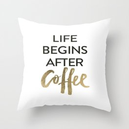 But First Coffee Brushtroke Watercolor Throw Pillow